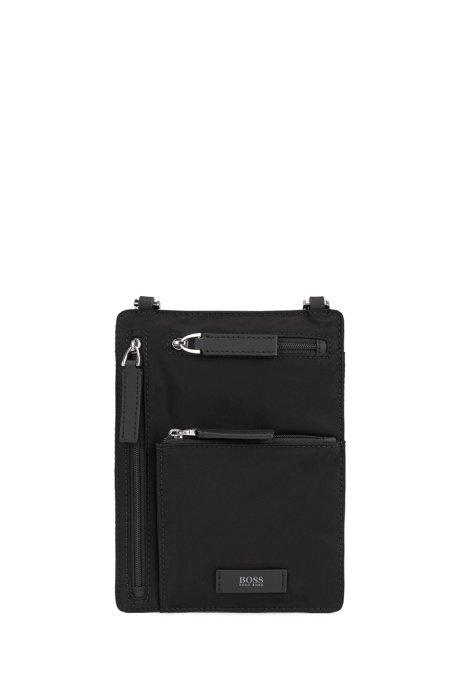 Italian-nylon envelope bag with logo patch, Black