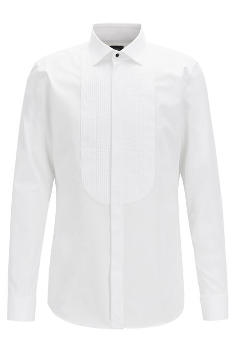 Slim-fit evening shirt in pinstripe dobby cotton, White