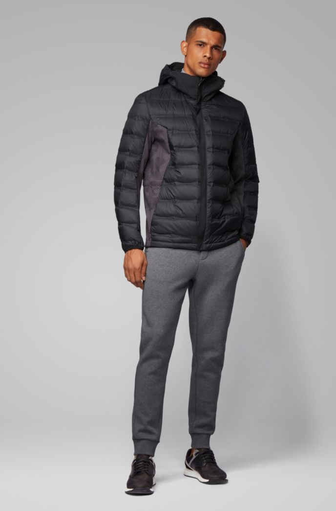 Link² down jacket with seasonal quilting and embossed panels