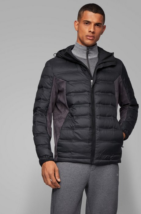 Link² down jacket with seasonal quilting and embossed panels, Black