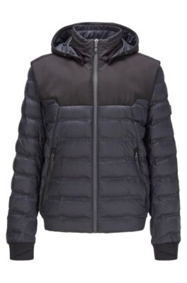 Water-repellent down jacket with detachable hood and sleeves, Black