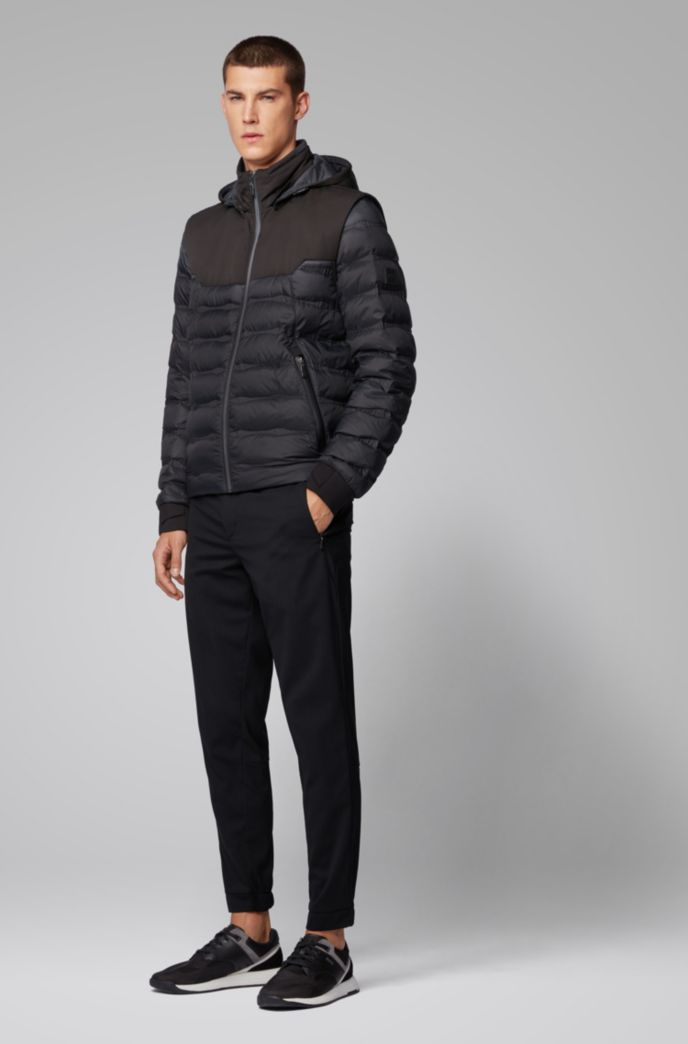 Water-repellent down jacket with detachable hood and sleeves