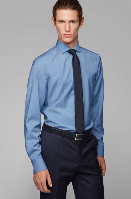 Slim-fit shirt in traceable virgin wool, Blue