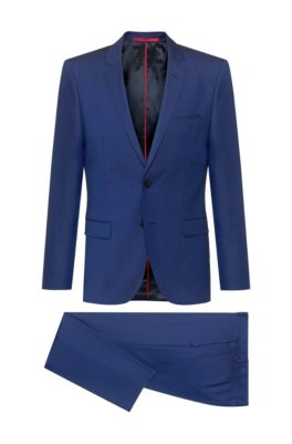 Extra-slim-fit suit in virgin-wool twill, Blue