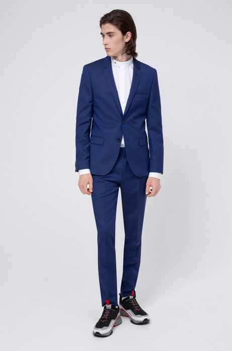 Extra-slim-fit suit in virgin-wool twill, Blue