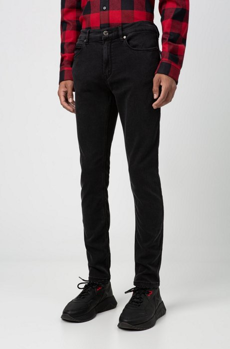 Skinny-fit low-rise jeans in black stretch denim, Charcoal