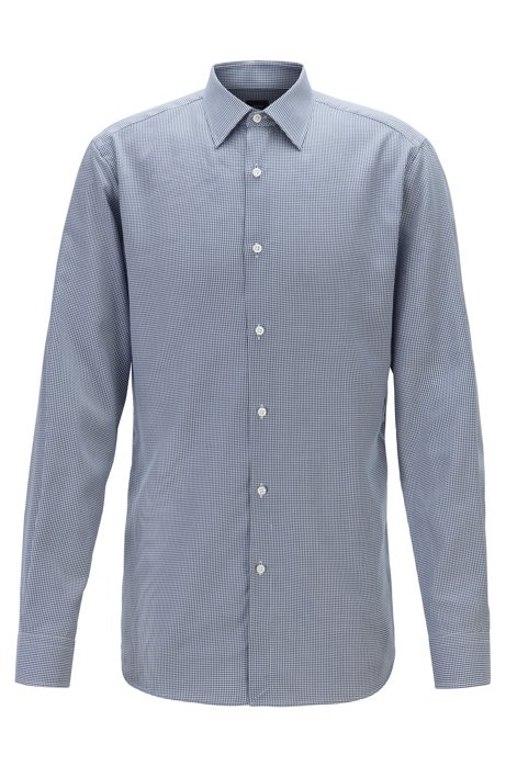 Micro-check slim-fit shirt with moisture management, Dark Blue