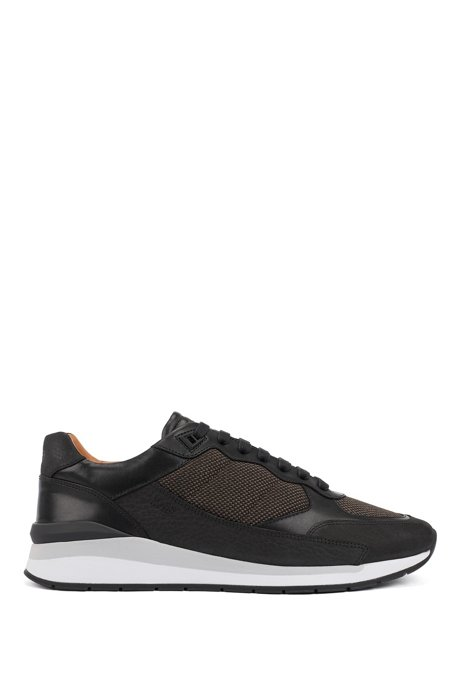 Low-top sneakers with hybrid uppers, Black