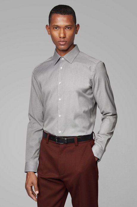 Slim-fit shirt in micro-patterned Oxford cotton, Black