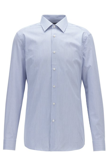 Slim-fit shirt in Italian cotton twill with stripes, Dark Blue