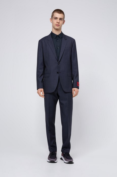Relaxed-fit suit in houndstooth virgin wool, Blue
