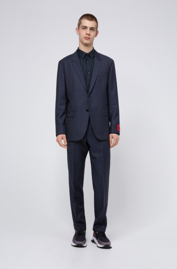 Relaxed-fit suit in houndstooth virgin wool