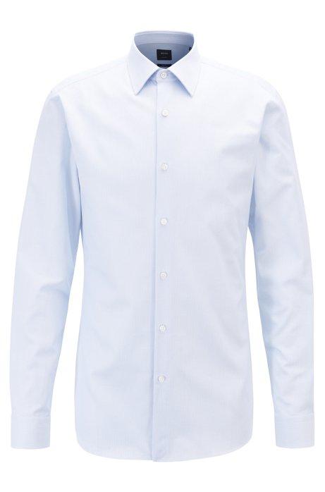 Striped slim-fit shirt in Italian cotton twill, Light Blue