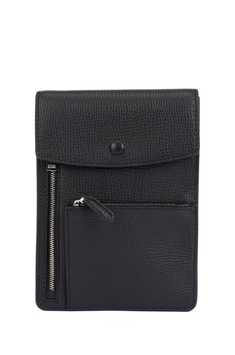 Envelope bag in embossed Italian leather with polished hardware, Black