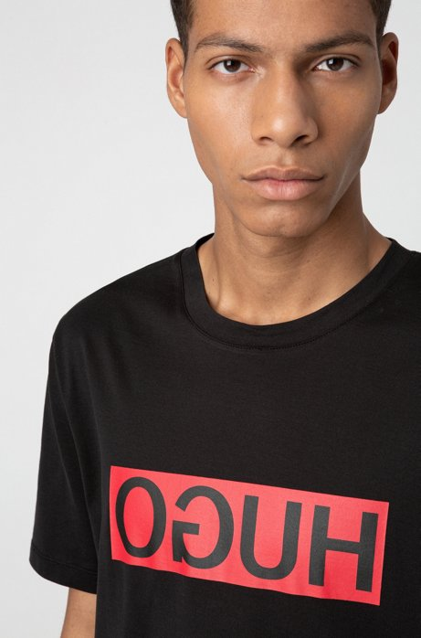 Regular-fit T-shirt with reverse-logo print, Black