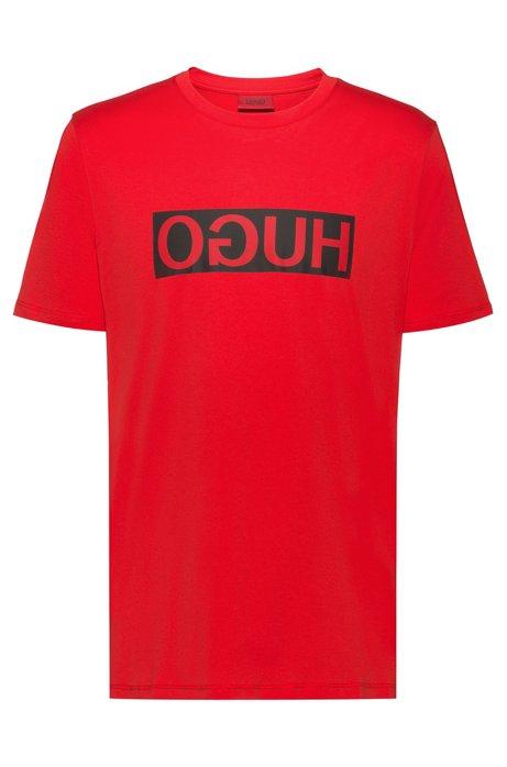 Regular-fit T-shirt with reverse-logo print, Open Pink