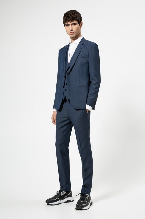 Extra-slim-fit three-piece suit in a wool blend, Blue