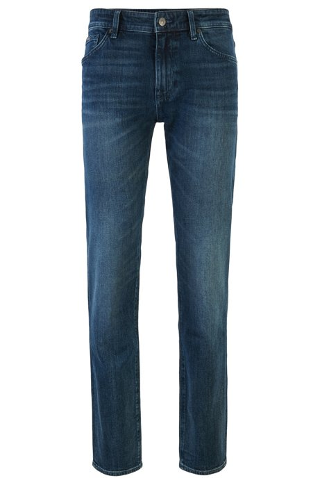 Regular-fit jeans in dark-blue Italian denim, Dark Blue