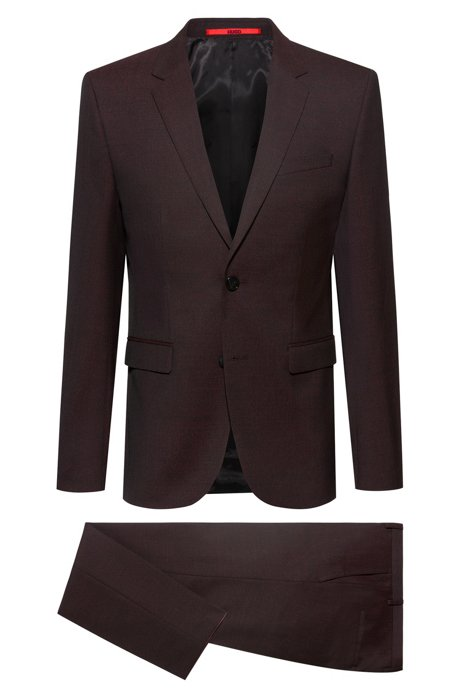 Extra-slim-fit suit in a virgin-wool blend, Dark Red