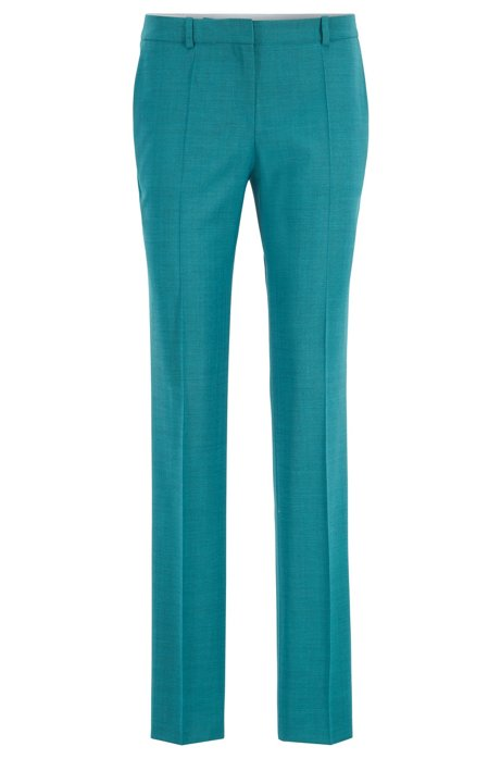 Regular-fit pants in Italian virgin wool, Turquoise