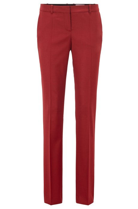 Regular-fit pants in Italian virgin wool, Dark Red