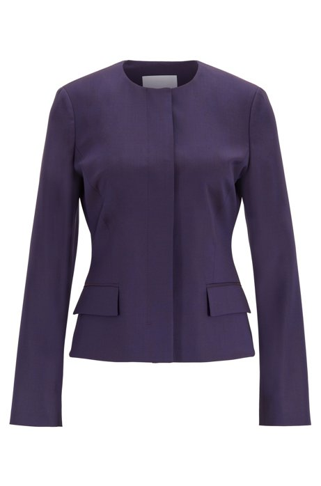 Collarless regular-fit jacket in virgin wool, Dark Purple