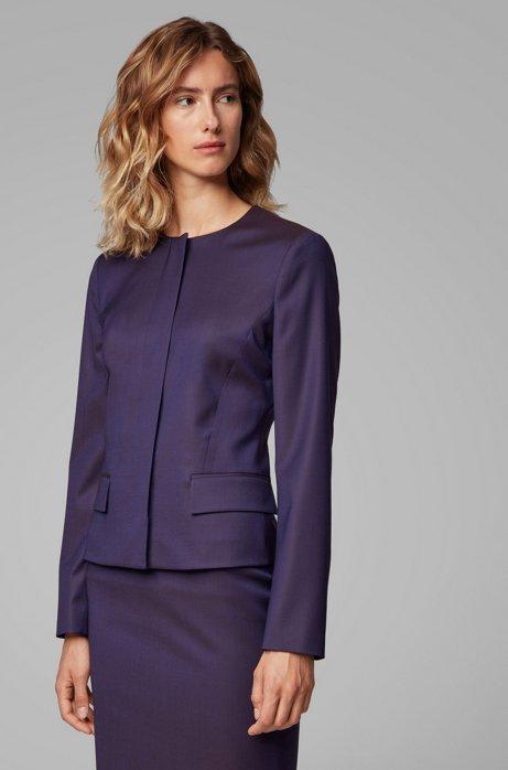 Collarless regular-fit jacket in virgin wool, Dark Purple