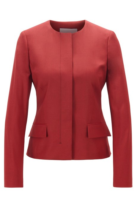 Collarless regular-fit jacket in virgin wool, Dark Red