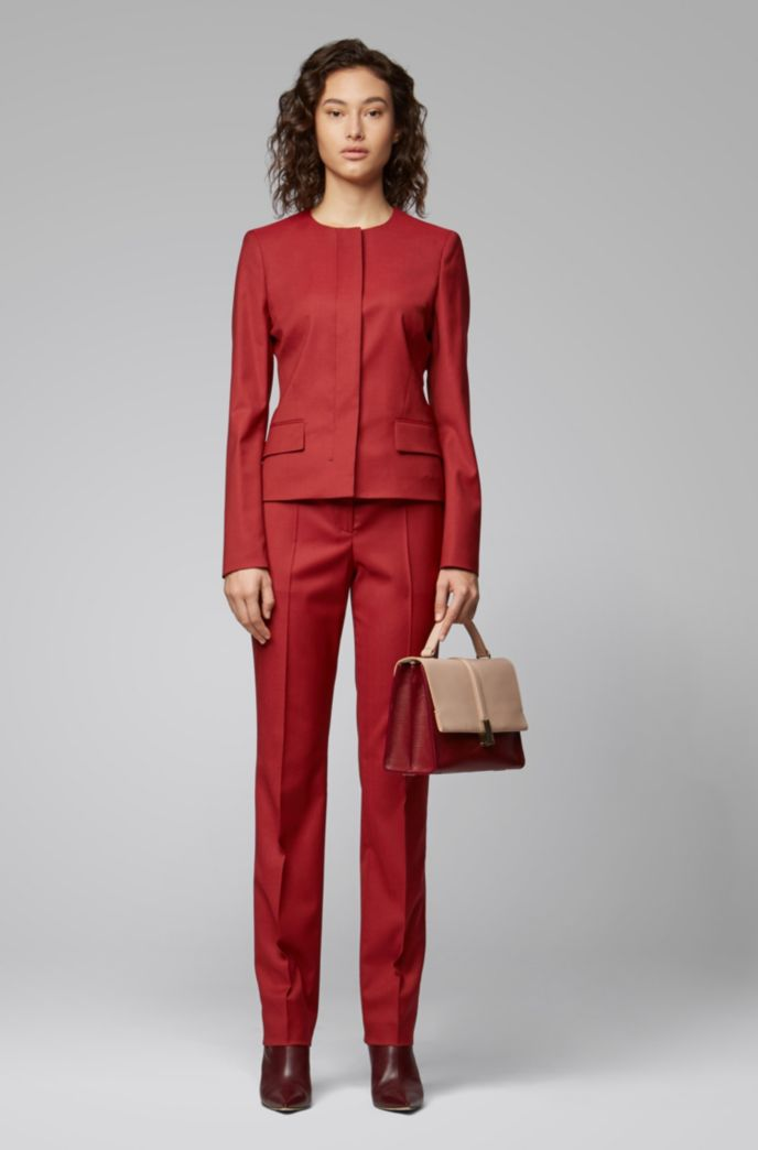 Collarless regular-fit jacket in virgin wool