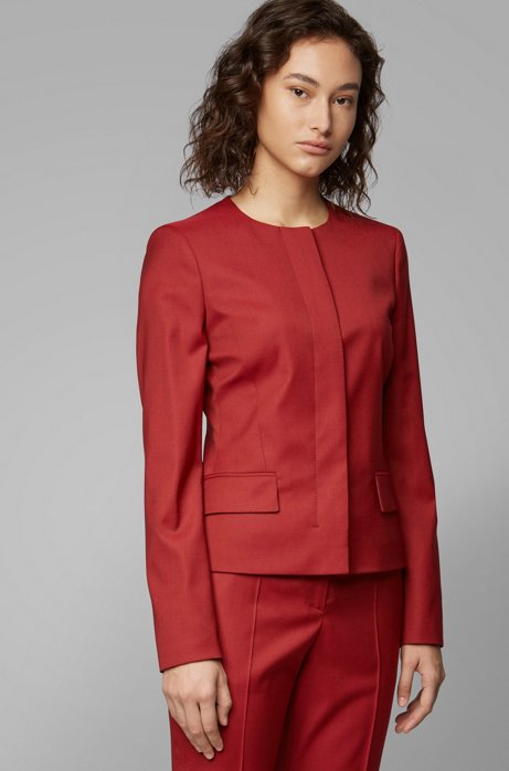 Collarless regular-fit jacket in virgin wool, Dark Red