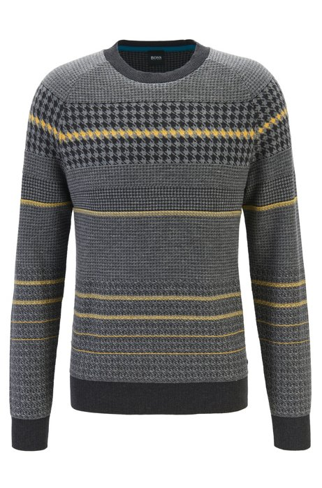 Regular-fit sweater with blocked houndstooth in cotton blend, Dark Grey