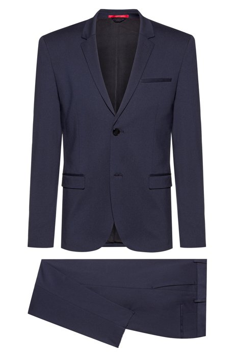 Extra-slim-fit packable suit in crease-resistant fabric, Dark Blue