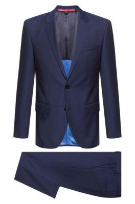 Slim-fit suit in micro-pattern virgin wool, Blue
