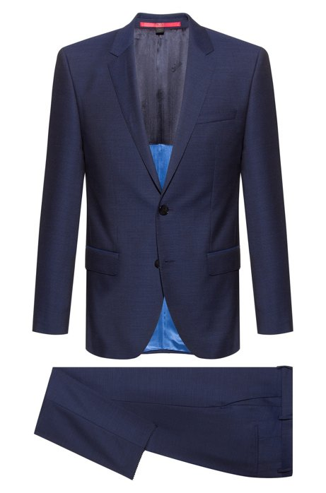 Slim-fit suit in micro-pattern virgin wool, Blue