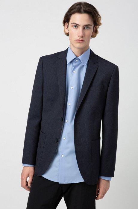 Regular-fit jacket in patterned virgin wool, Dark Blue