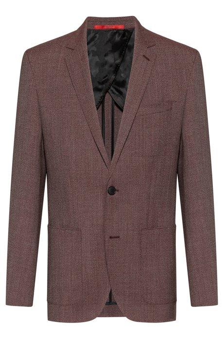 Regular-fit jacket in patterned virgin wool, Open Pink