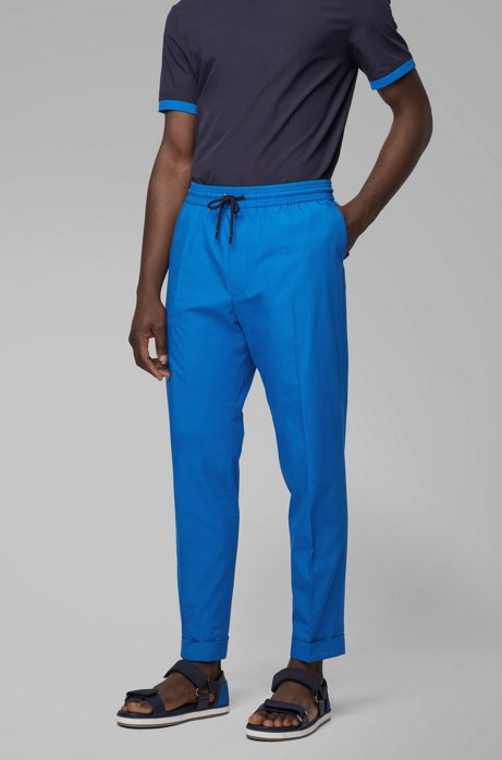 Relaxed-fit cropped pants in cotton with a drawstring waist, Blue