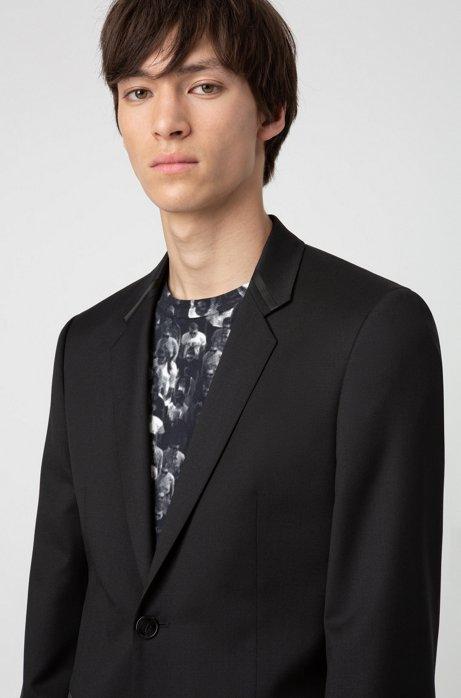 Extra-slim-fit dinner jacket in virgin-wool twill, Black