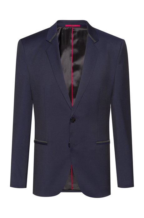 Extra-slim-fit dinner jacket in virgin-wool twill, Dark Blue