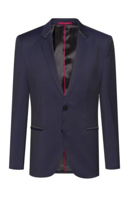 Extra-slim-fit dinner jacket in virgin-wool twill, Dark Blue