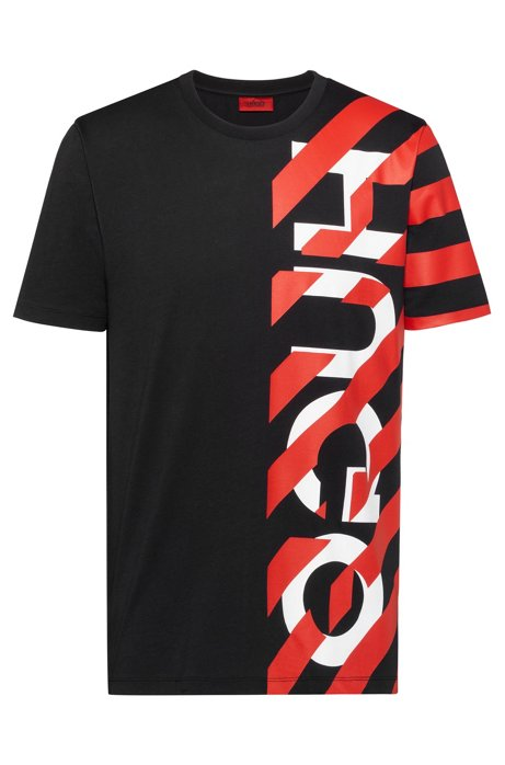 Cotton jersey T-shirt with striped logo graphic, Black