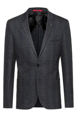 Extra-slim-fit checked jacket in stretch tweed, Dark Grey
