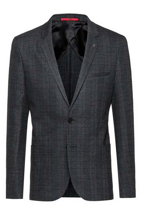 Extra-slim-fit checked jacket in stretch tweed, Dark Grey