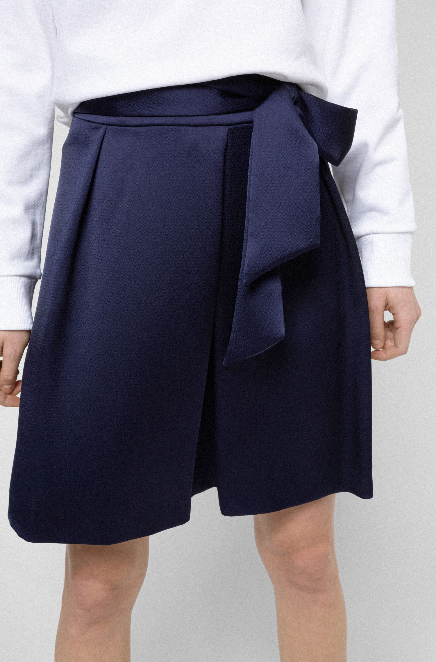 A-line skirt in hammered satin crepe with tie belt, Open Blue