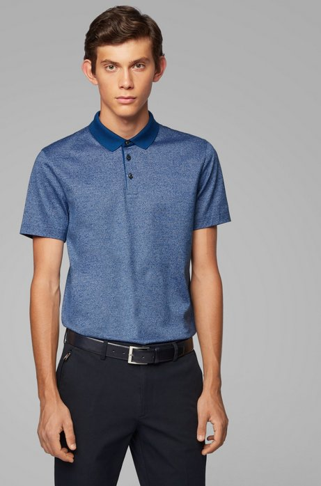 Slim-fit polo shirt in finely striped mercerized cotton, Dark Blue