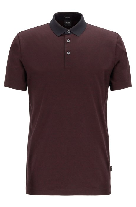 Slim-fit polo shirt in finely striped mercerized cotton, Dark Red