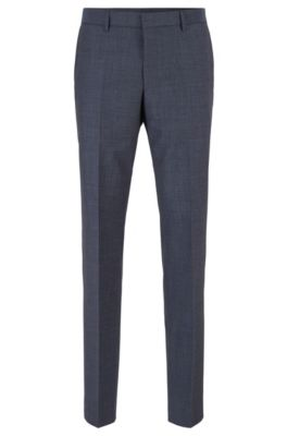Slim-fit pants in micro-patterned virgin wool, Open Blue