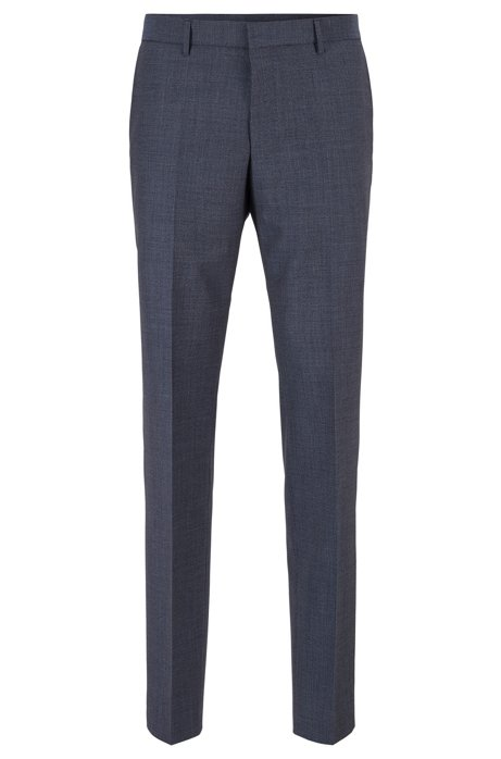 Slim-fit pants in micro-patterned virgin wool, Open Blue
