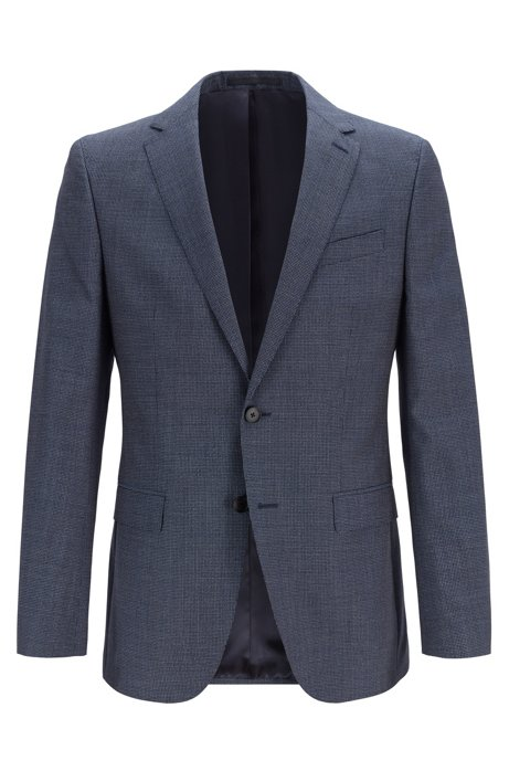 Slim-fit jacket in micro-patterned virgin wool serge, Open Blue