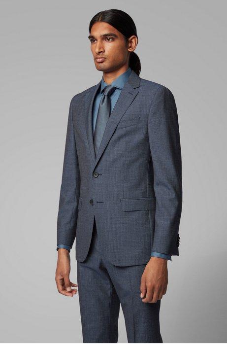 Slim-fit jacket in micro-patterned virgin wool serge, Open Blue